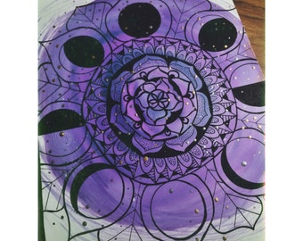Moon Phases Mandala with Alcohol Ink