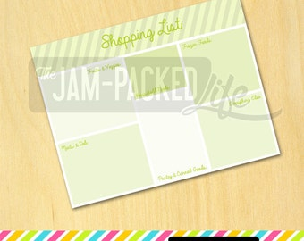"""Printable Form - Grocery Shopping List - """"Blocks"""" Style - Lime (Letter Size)"""