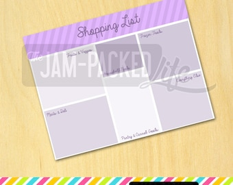 "Printable Form - Grocery Shopping List - ""Blocks"" Style - Purple (Letter Size)"