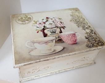 Tea box - vintage cream tea time box...Tea storage
