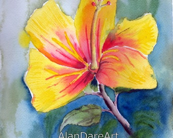 Yellow hibiscus, Watercolor flowers, original art, wall art, fits in any room