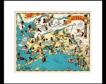Alaska Map - Map of Alaska - Vintage Map - Print - Poster - Wall Art - Home Decor
