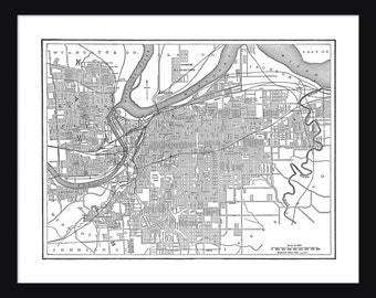 Kansas City Vintage Map - Kansas City - White - Print - Poster