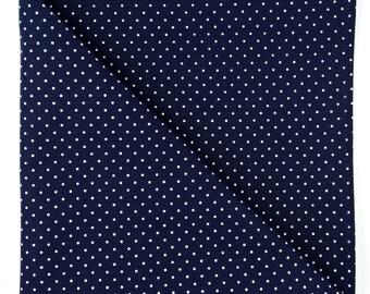 Navy blue dots pocket square, Mens white polka dot cotton handkerchief, rustic wedding groom gift