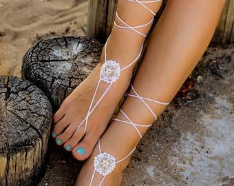 White Beach Wedding Beaded Crochet Barefoot Sandals, Beach Party Shoes, Beach Wedding Shoes, Summer Crochet Shoes, Beach Party Sandals