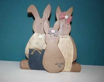 Three Bunny Wooden Welcome