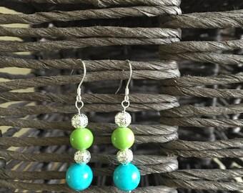 Turquoise & Apple Green Glass Earrings