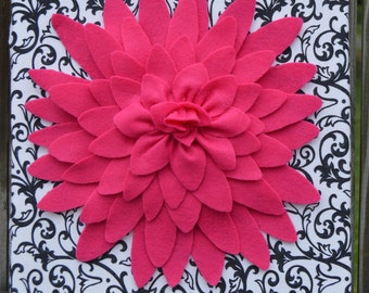 "Flower Wall Art: Black and White Damask with Pink Flower, 12""x12"""