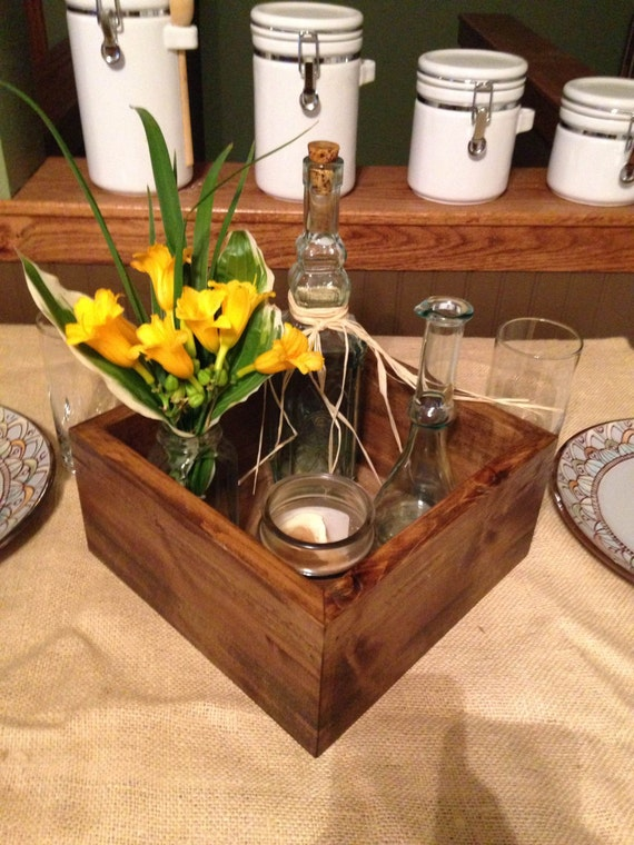 Rustic wooden box centerpiece wedding