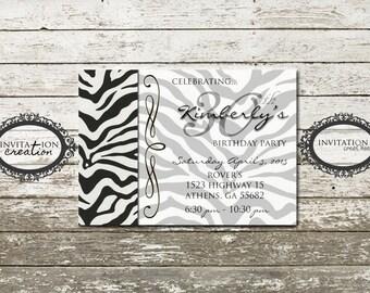 Zebra Girls Tweens Ladies Birthday Party Invitation Digital Download File