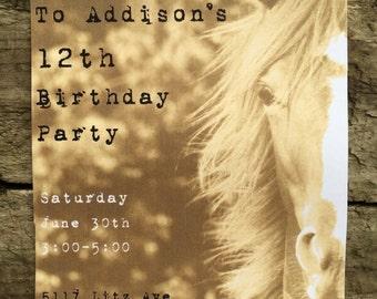 Horse Birthday Invitation, Printable Birthday Invite, Horses, Barnyard Birthday, Farm Birthday, Horse Invitation, Western Birthday, Rustic