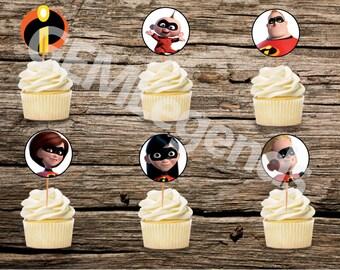 Incredibles Cupcake Toppers, Incredibles Birthday, Incredibles Birthday Party, Incredibles Printable, INSTANT DOWNLOAD, DIGITAL Download