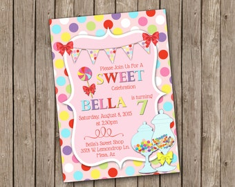 Sweet Shoppe Birthday Invitation with Candy and Colorful Polka Dots - printable 5x7