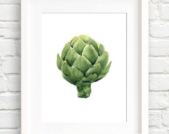 Artichoke - Art Print - Kitchen Art - Wall Decor - Watercolor Painting