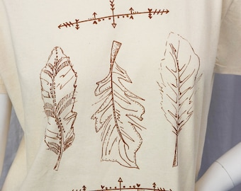 3 Feather screen printed tshirt