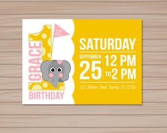 Elephant Birthday Invitation Set of 50