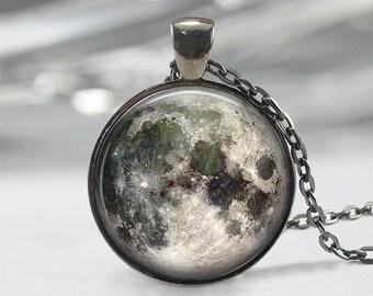 Full Moon Necklace - Full Moon Jewelry Full Moon Pendant Full Moon Charm Space Necklace Space Jewelry Universe Necklace Galaxy Necklace Gift