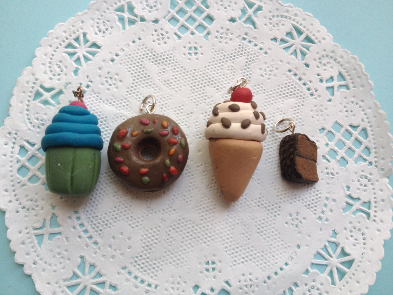 Set Of 4 Polymer Clay Charms Desserts By Anikasstudio On Etsy