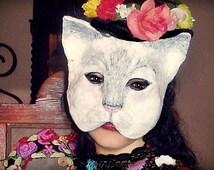 Cat Paper  Mask Animal Mask Paper Mache Cat   mask Papier Mache mask White Cat   masquerade