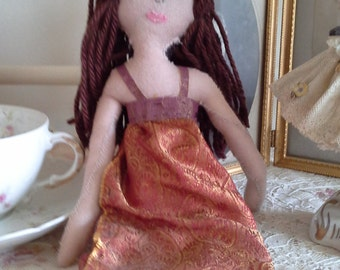 ragdoll brown hair orange dress handmade