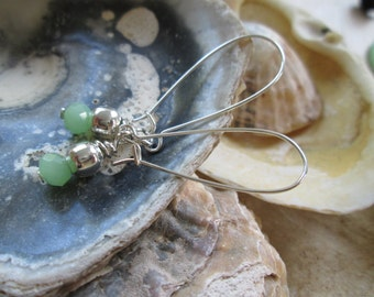 Silver and Mint Green Earrings