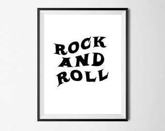 Rock N Roll, Wall Art Print, Rock Poster, Quote, Gallery Wall #18