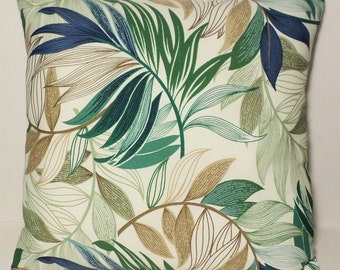 "18"" x 18"" Beatiful Green Blue Leafty In/out door pillow cover"