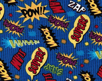 Comic Words Cotton Fabric. - 1 yard -