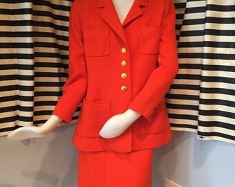 Vintage Red-Orange Chanel Suit