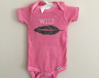 SALE! Pink feather WILD onesie, hand dyed and painted, 3-6 months
