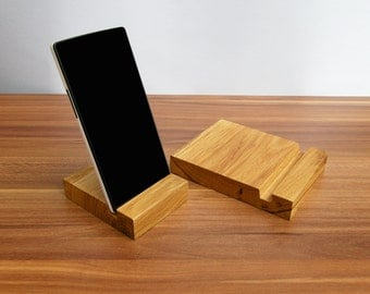 Wood iPad & iPhone Stand Set. Wood iPad stand. Wooden iPhone Stand. Oak iPad Stand Set. iPad Docking Station.