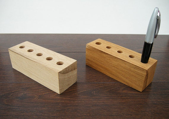 Pen holder wood desk organizer by magowoodproducts