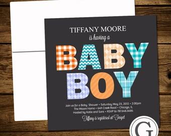 Baby Shower Invitation - Boy, Twins, Gender Neutral, Modern Bold Fabric Typography, Preppy, Square, Mom to be, Digital Printable DIY