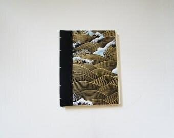 "Handmade Gold Waves Mini Sketchbook (""5.5 x 4.25"")"