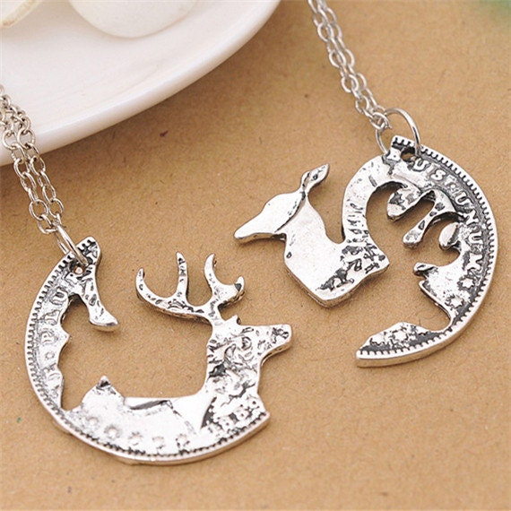 buck and doe interlocking necklace kit deer by