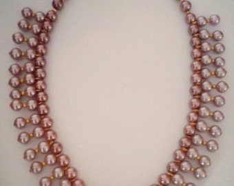 New Handmade Necklace with Salmon Pink Glass Pearl Beads in layers and gold plated components Jewelry by Georgia