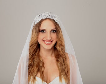Wedding VEIL and White beaded lace wedding headpiece, bridal headpiece,bridal fascinator, long cathedral veil with headpiece, something blue