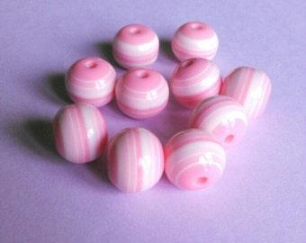 Pink and White Striped Ball Beads  (10 Pcs)