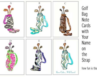 Golf Bag Personalized Note Cards