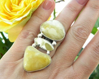 unique Silver 925 & real butterscotch AMBER ring ~ARTISAN ~ one and only ~