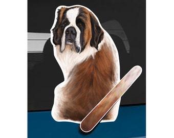 St Bernard dog rear window wiper wagging tail sticker