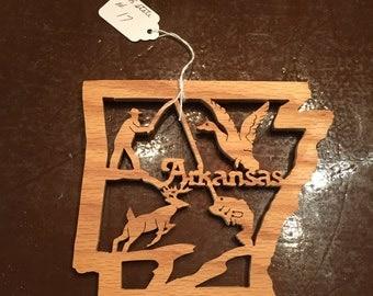 """Wood """"Arkansas"""" cutout wall hanging"""