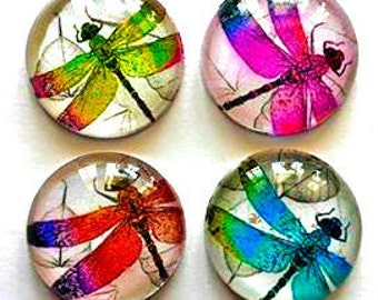 4 Dragonfly Glass Cabochon Necklace Supplies - 1 Inch Domed Glass Circles - Dragonflies
