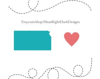 Kansas SVG state silhouette, heart svg, and dotted lines INSTANT DOWNLOAD vector files for cutting machines - svg, png, dxf, eps