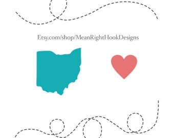 Ohio SVG state silhouette, heart svg, and dotted lines svg INSTANT DOWNLOAD vector files for cutting machines - svg, png, dxf, eps