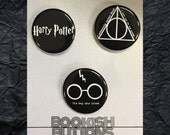 1 - Harry Potter Pins - Small 1.25 inch Pin Back Buttons or Badges