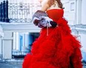 Red Wedding Dress. Ball Gown Wedding Dress. Fluffy Wedding Dress. Tightening corset. Free Shipping