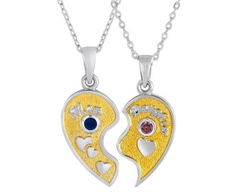 Mother / Daughter Half Heart Pendants With Personalized Birthstones In Sterling Silver