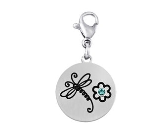 Dragonfly Disc Charm With Personalized Birthstone
