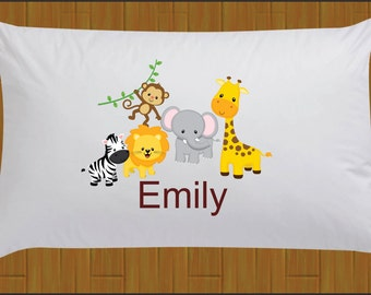 Personalized Zoo Safari Jungle Pillow Case Jungle Animal Pillow Case